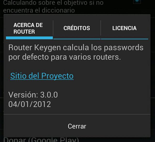 versión de la aplicación Router Keygen