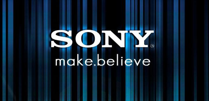 Logotipo de Sony con fondo negro y azul