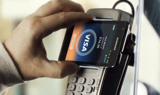 Samsung Galaxy pagando con VISA