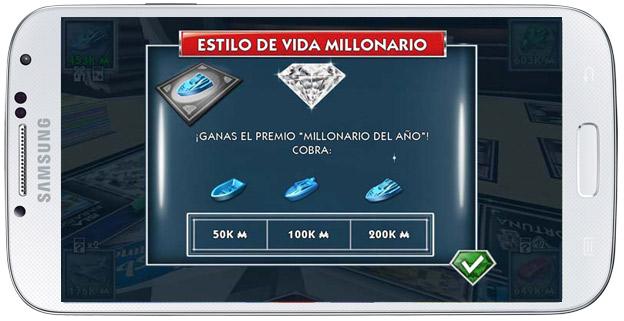 Carta suerte en Monopoly Millonario Android