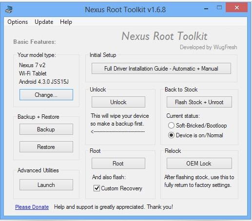 Aplicación Nexus Root Toolkit en ejecución