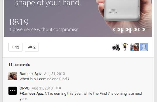Oppo confirma en Google+ la llegada de Oppo N1 antes de fin de año