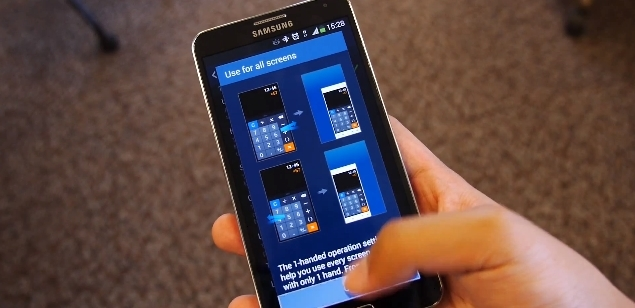 Modo de uso con una mano en el Galaxy Note 3