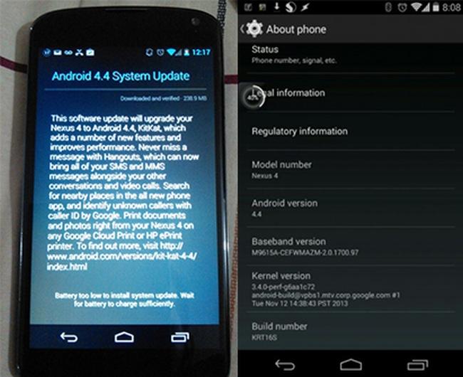 Ya está disponible la actualización del Nexus 4 a Android 4.4 KitKat