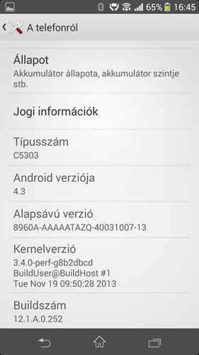 Sony Xperia SP captura pantalla.