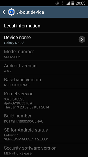 Sistema Galaxy Note 3 con Android 4.4.2