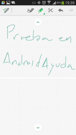 Ejemplo de escritura a mano alzada en Evernote