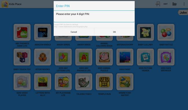 PIN en la aplicación Kids Place