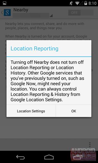 Aviso en Google Nearby de cuestiones de privacidad