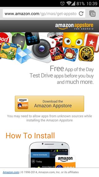 Descarag en un terminal Android la tienda de Amazon