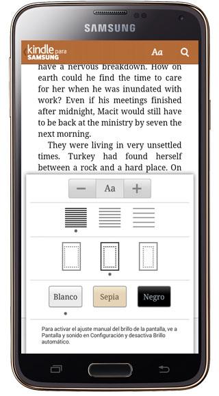 Opciones de lectura en Kindle para Samsung