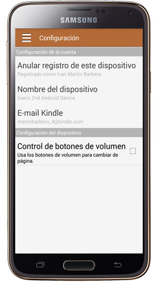 Configuración Kindle para Samsung