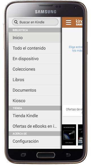 Menú Kindle para Samsung