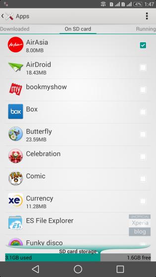 Sony Xperia T2 Ultra con opciones de cambio de aplicaciones a la tarjeta SD