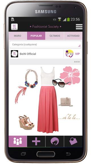 Interfaz de BeIN Fashionist Society
