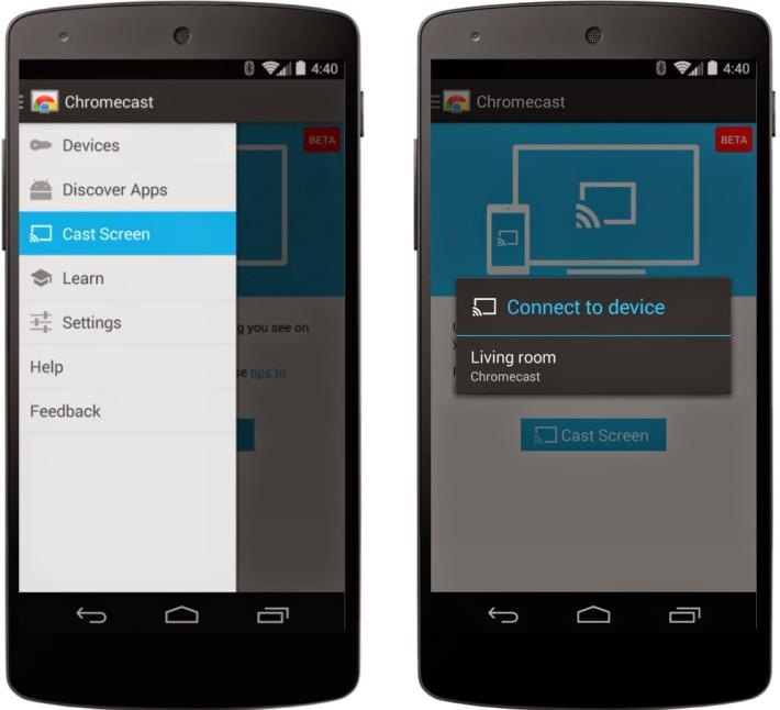 Screen Mirroring para la aplicación de Chromecast