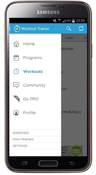Interfaz de Workout Trainer