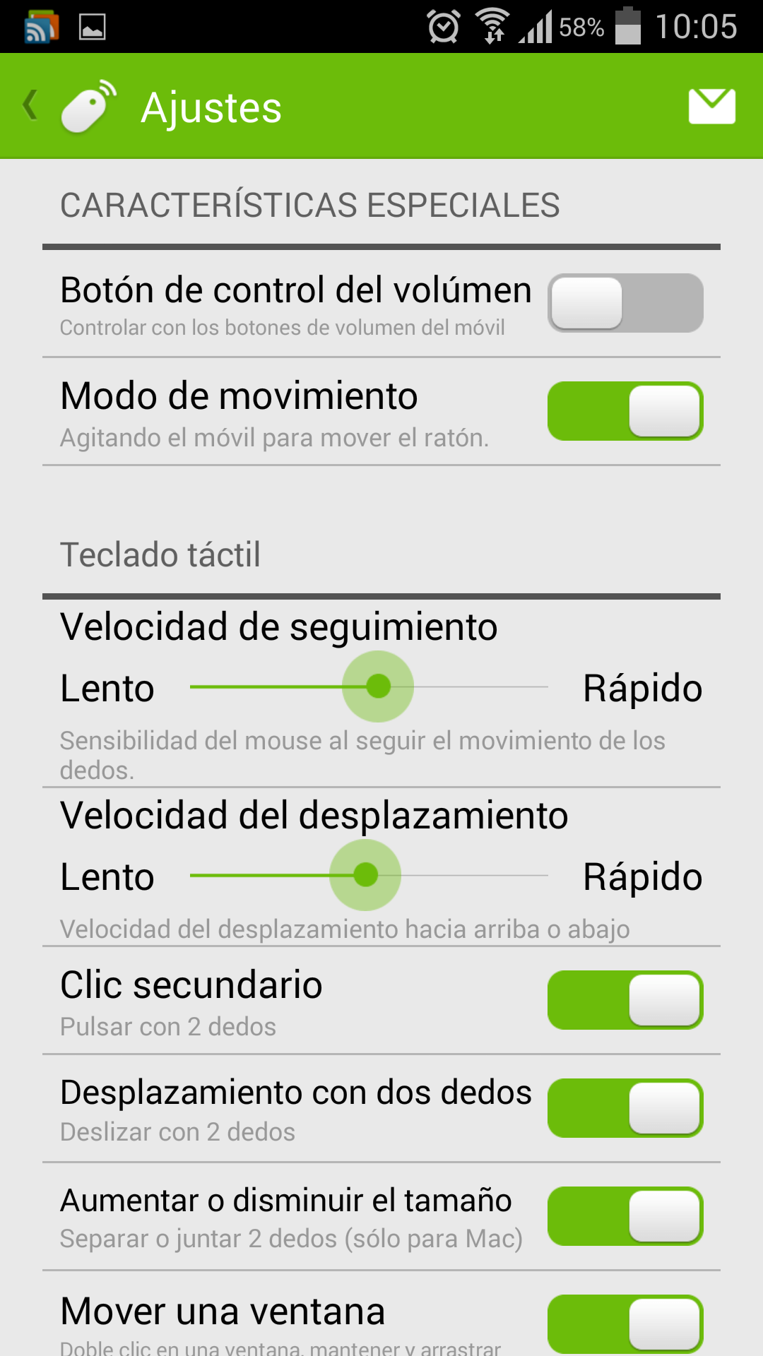 Opciones de ajustes de Remote Mouse que posibilita que tu teléfono Android como un ratón inalámbrico