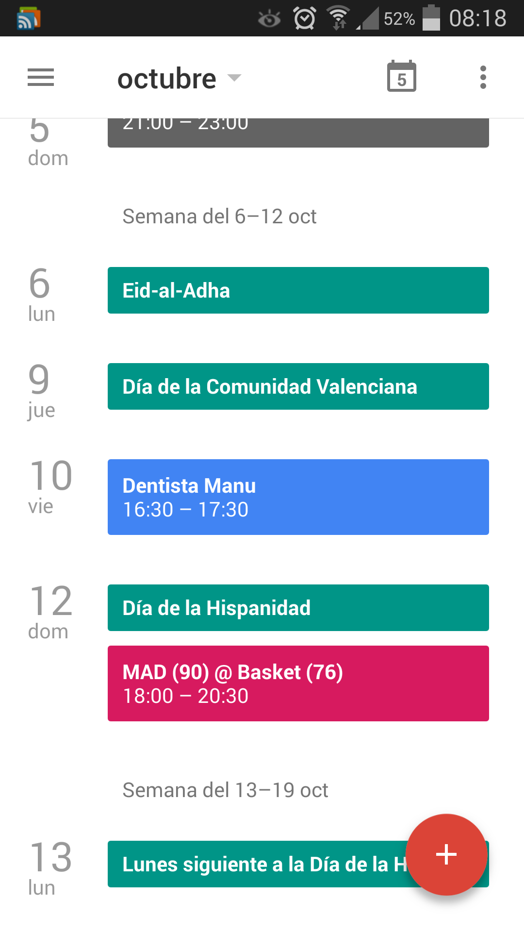 Nueva interfaz de Google Calendar 5.0