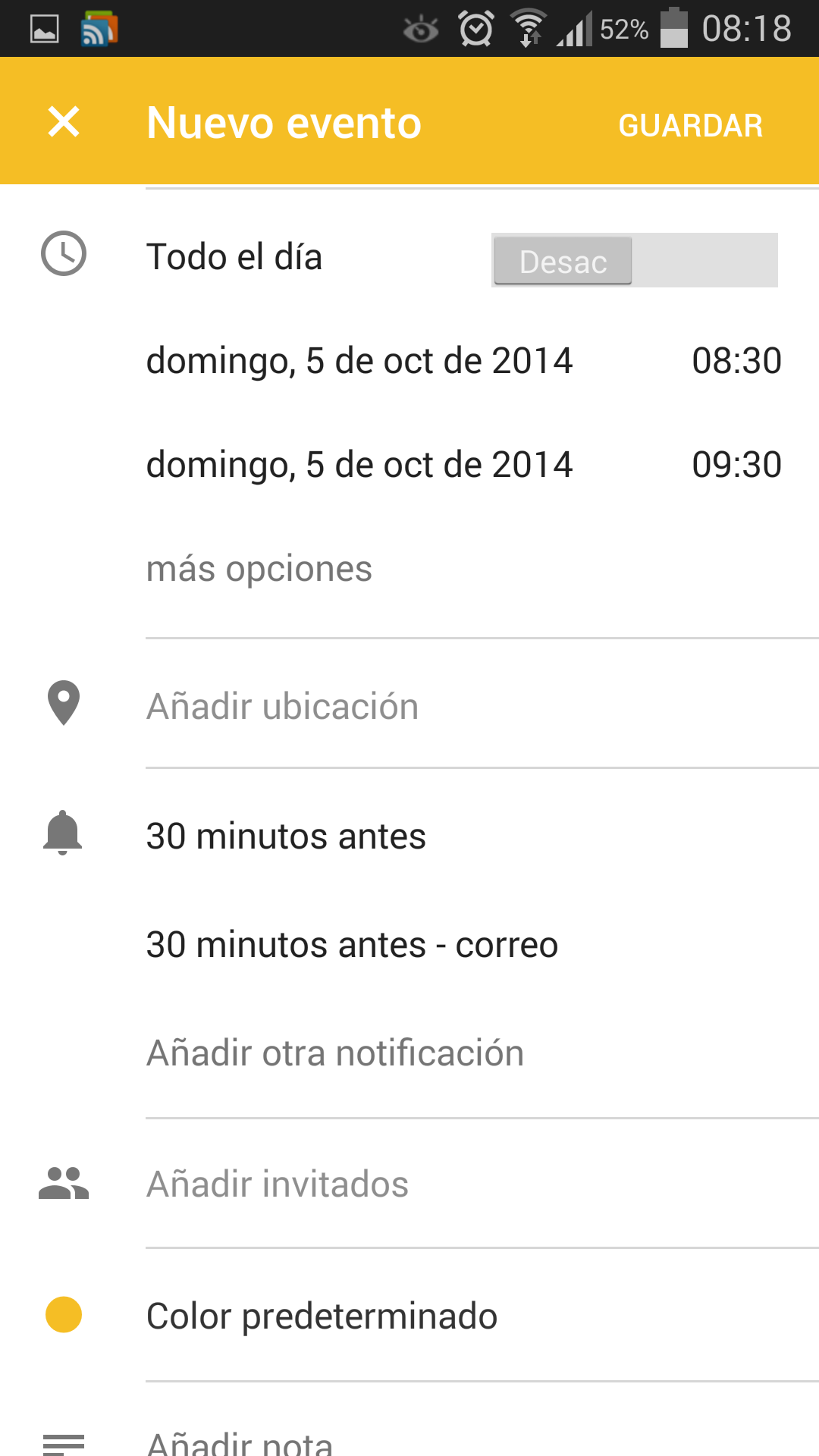 Añadir cita en Google Calendar 5.0