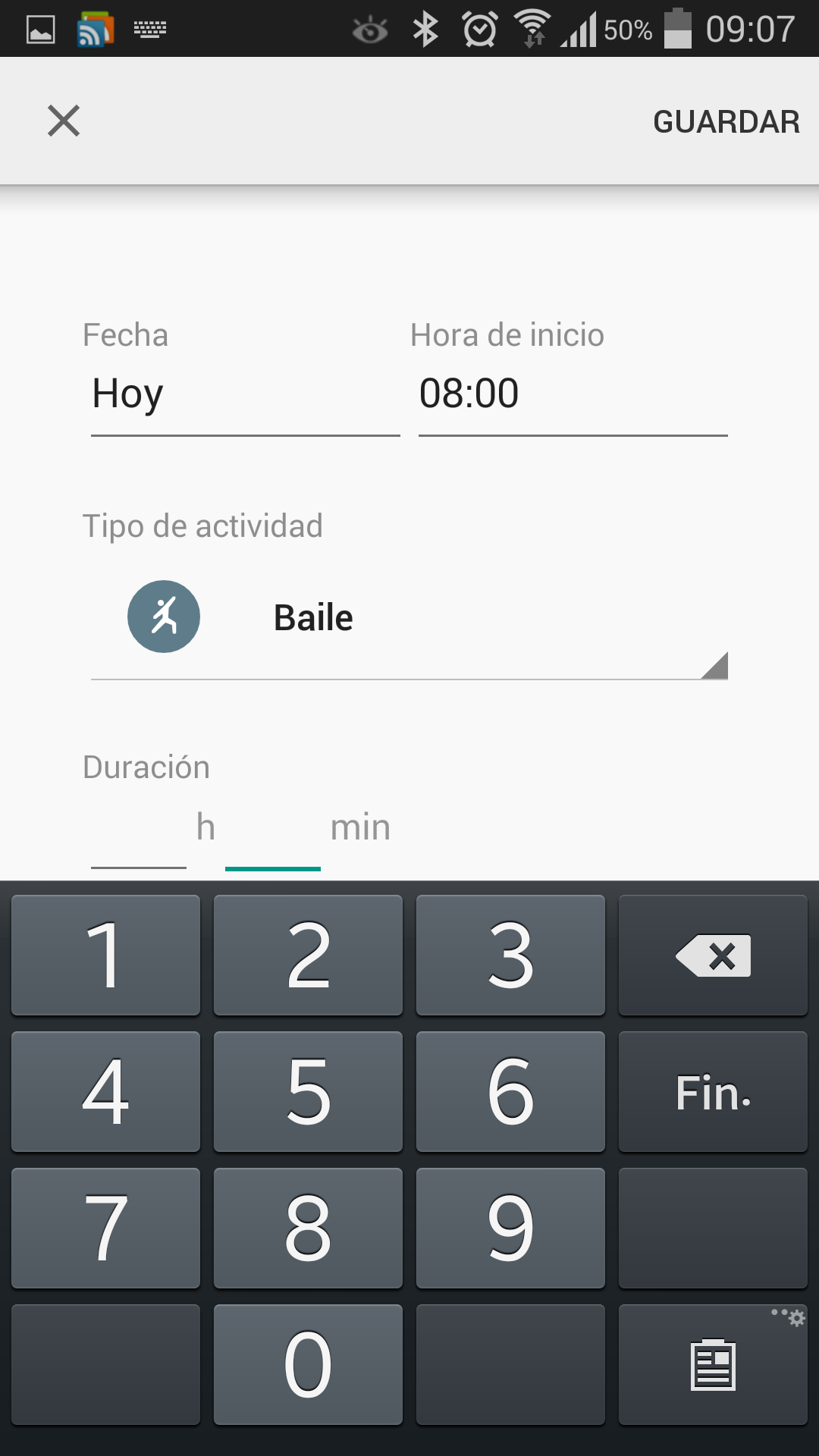 Añadiendo actividad en Google Fit