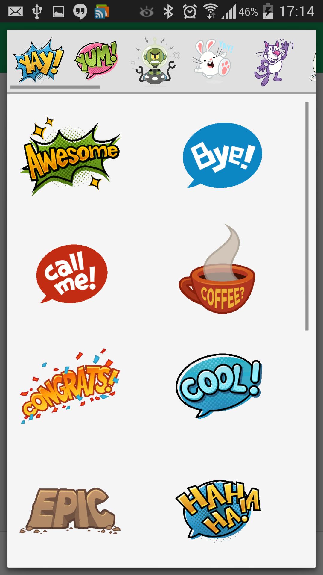 Nuevos stickers en Hangouts