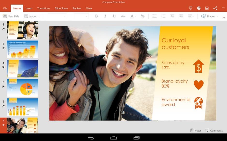 Interfaz de Microsoft Office para Android