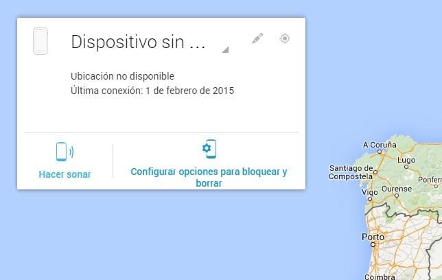 Interfaz web del Administrador de dispositivos Android