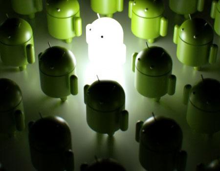 Imagen con el logotipo de Android iluminado