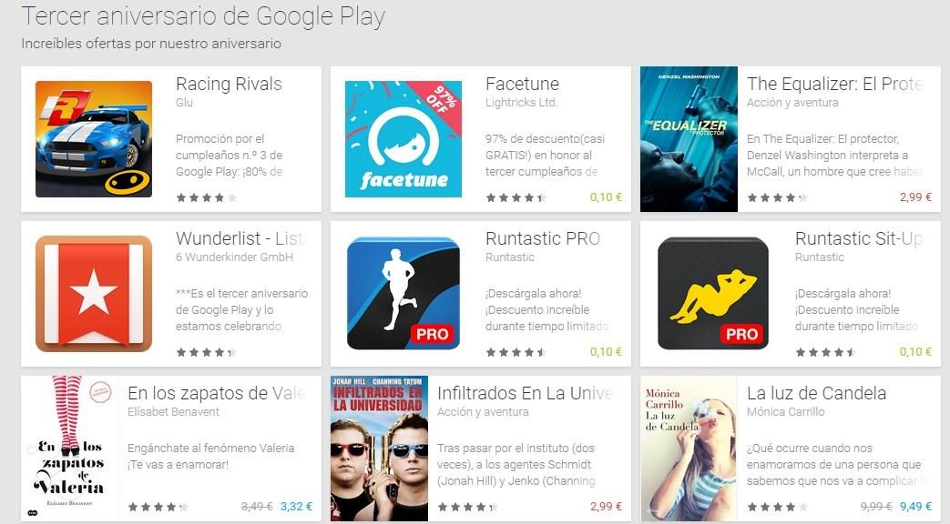 Descuentos por tercer aniversario en Play Store