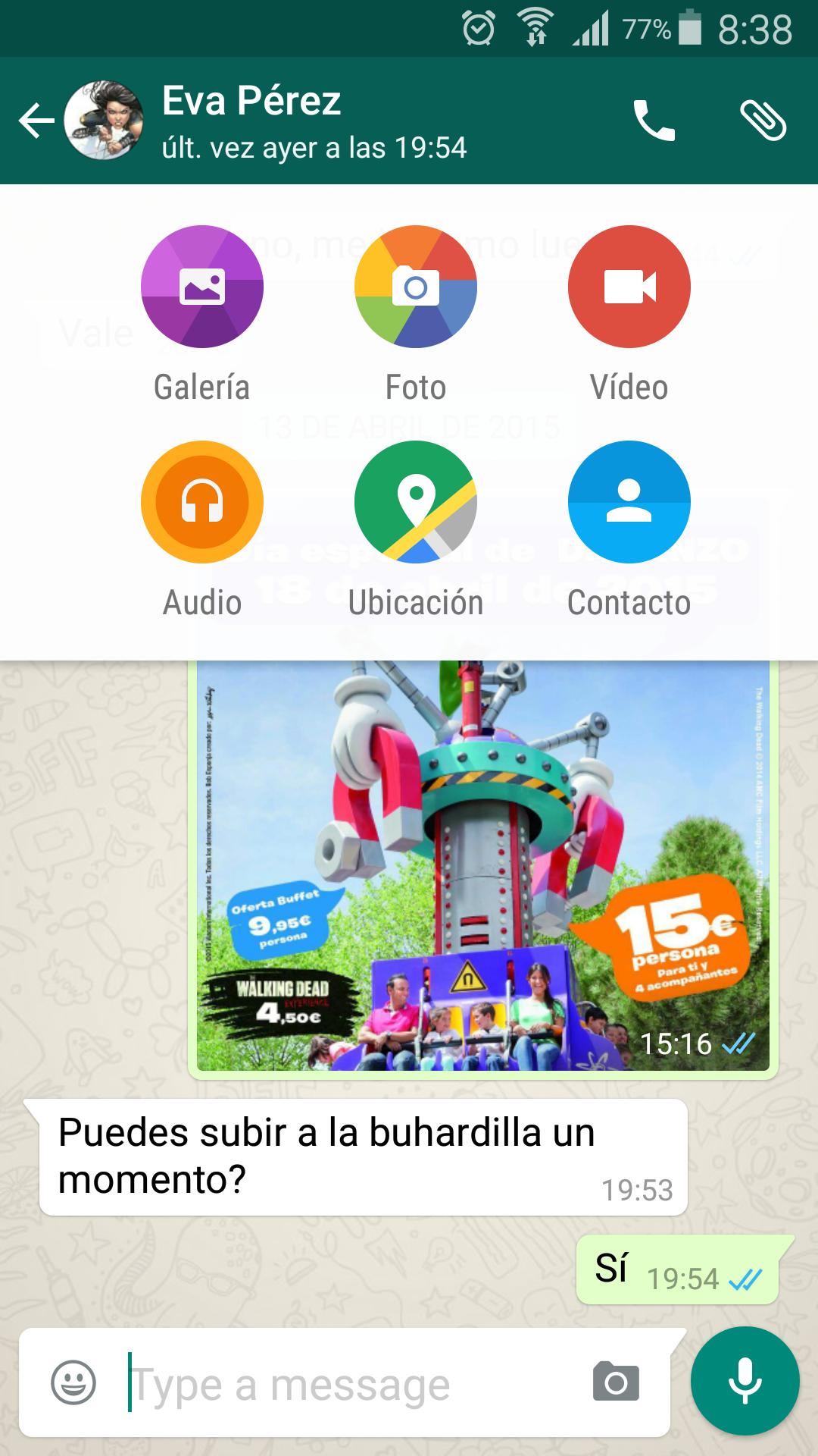 Interfaz de WhatsApp con MaterialDesign