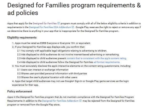 Google Play Store para las familias