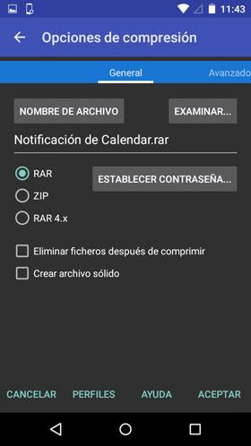 Comprimir con RAR para Android