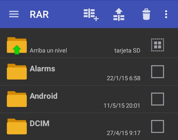 Interfaz de RAR para Android