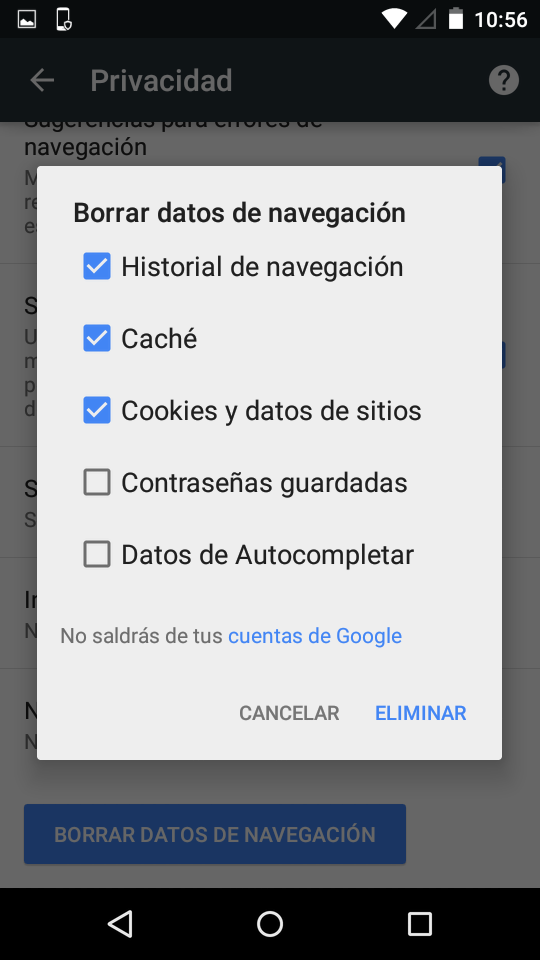 Borrado historial Chrome para Android