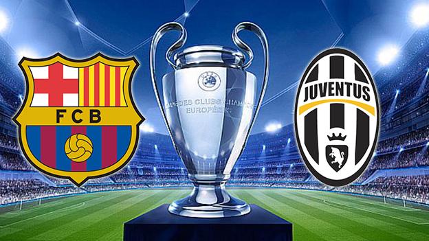 Imagen final de la Champions entre Barça y Juve