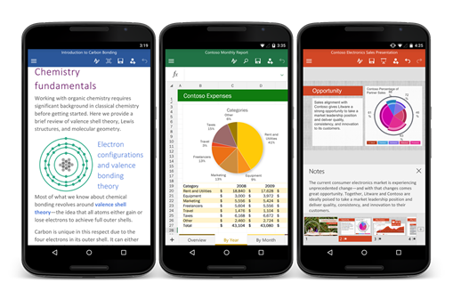 Office Android para smartphones