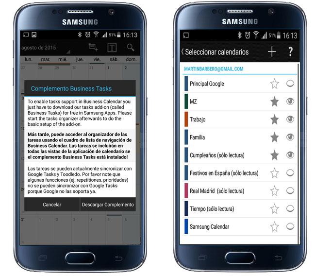 Inicio de la aplicación Business Calendar Pro