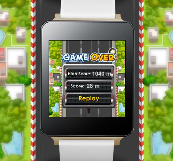 Partida finalizada en Wear Rider para Android Wear