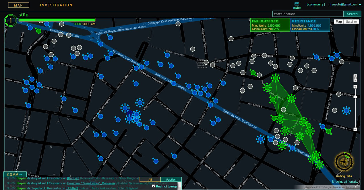 Interfaz del juego Android Ingress
