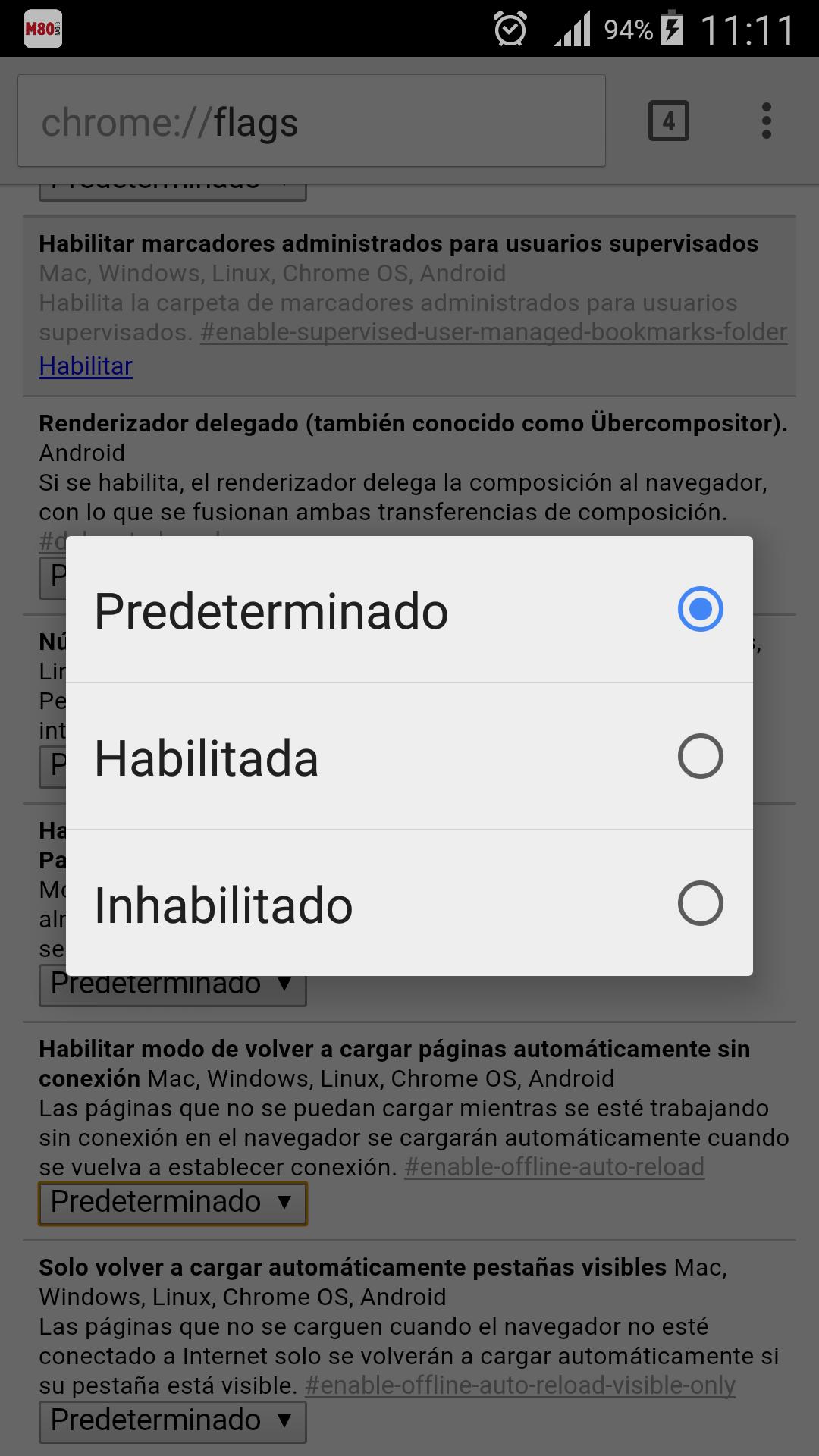 Activación nevegacón sin conexión en Google Chrome para Android