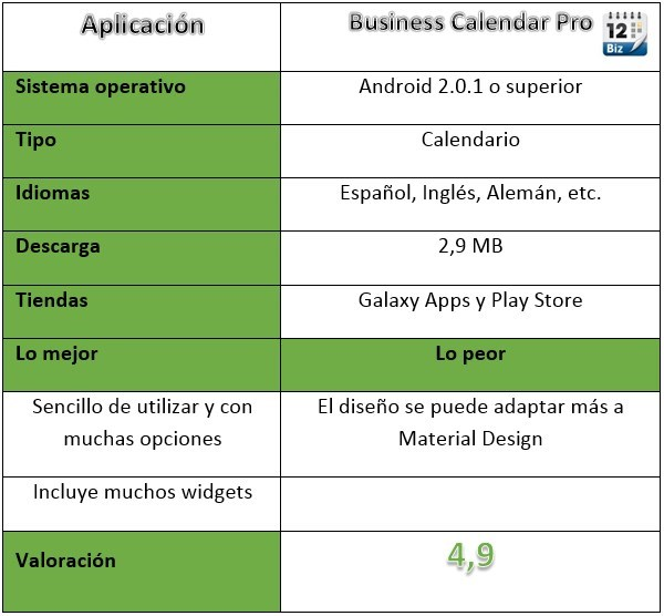 tabla de la aplicación Business Calendar Pro