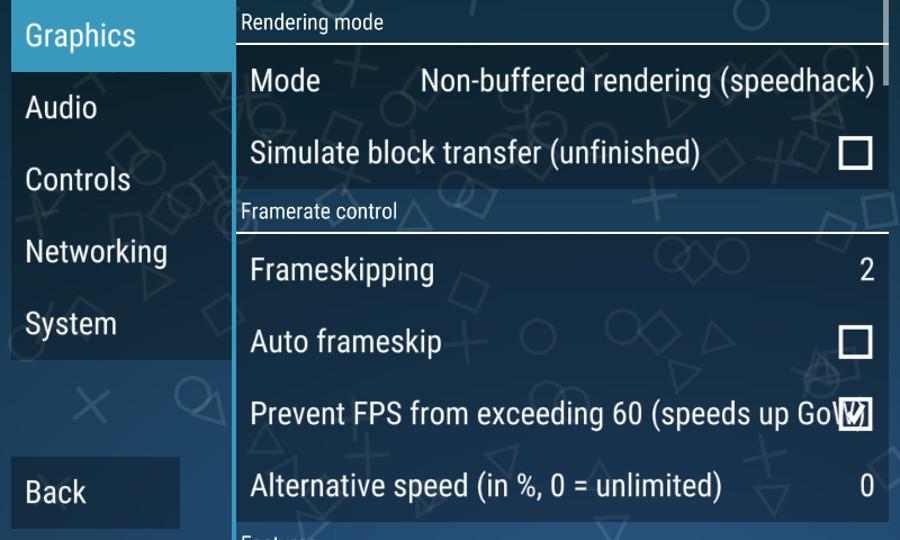 Opciones de configuración de PPSSPP - PSP emulator para Android