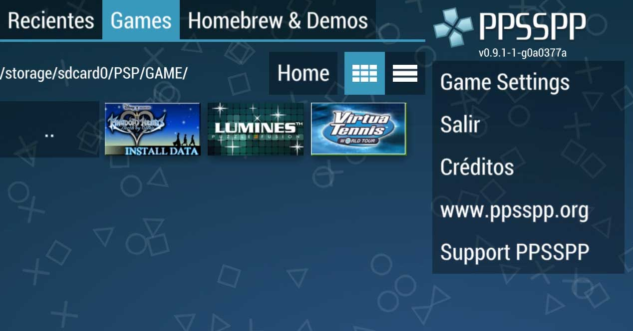 Interfaz del emulador PPSSPP - PSP emulator