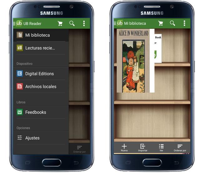 Interfaz de la aplicación Universal Book Reader