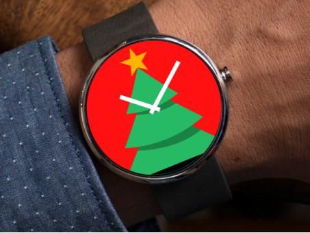 Pantalla Android Wear con motivos navideños