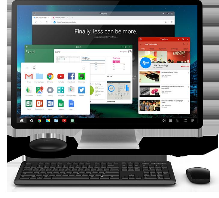 Android PC Remix Mini funcionando
