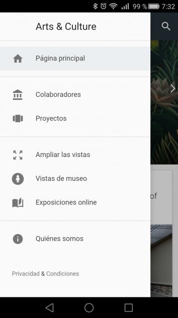 Interfaz de la aplicación Google Arts & Culture