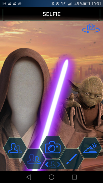 Interfaz de selefie con aplicación Star Wars