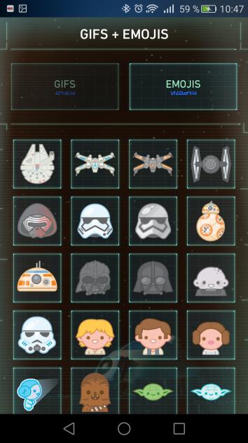 Listado emojis Star Wars Android